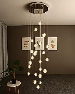 LED Colgante de luz K9 Cristal Bala Lámpara colgante Altura ajustable Moderno Dentro Decorativo Candelabro Lámpara de mesa de comedor por Villa Escalera Desván Comedor Habitación,6000k,5×G4