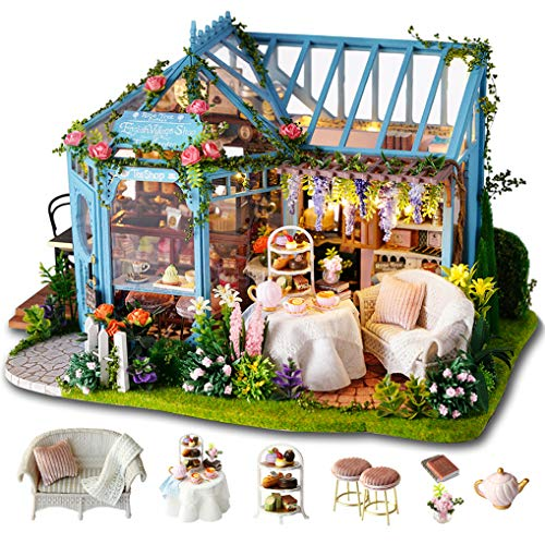 GuDoQi Miniatura Casa delle Bambole con Musica e Mobili, Kit di Modelli Artigianali Fai-da-Te da Costruire per Adulti e Collezionisti, Negozio di tè da Giardino Fatto a Mano
