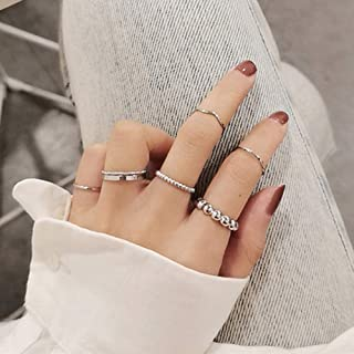 Asphire 7Pcs Gothic Knuckle Ring Set Simple Wave Finger Ring Silver Punk Stacking Rings for Women or Men