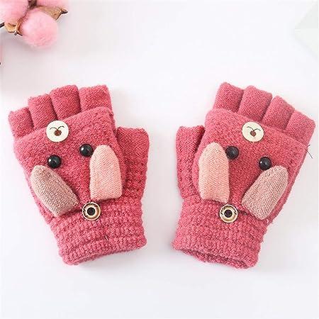 Zeagro Guantes para niños sin dedos – Guantes cálidos de invierno, guantes térmicos tejedores de punto de medio dedo guantes para niños, regalo de Navidad cumpleaños (rojo)