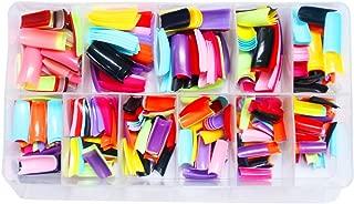 AORAEM 500 Pcs 10 Color French False Acrylic Gel Nail Art Tips Half with Box