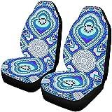 Enoqunt Fundas de asiento de coche Bufanda de cuello de seda azul o pañuelo...