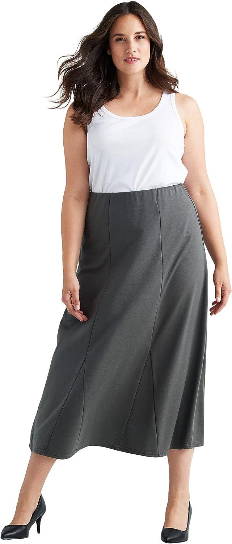 ellos Women's Plus Size Flared Elastic Waist Skirt