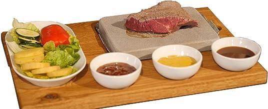 Hot Rock Set de barbecue | Set de 9 pièces basique – steak, viande, poisson grillé sur pierre chaude – grill en pierre, cu...