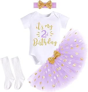 ODASDO Baby Girls 1/2 / 1st / 2nd / 3rd Birthday Cake Smash Outfit Romper T-Shirt + Skirt + Headband + Long Socks 4pcs