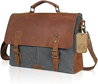 Men's Accessories 14 inch Laptop Messenger Bag Vintage Crazy Horse Leather Canvas Briefcase Computer Satchel(Grey) Outdoor Recreation
