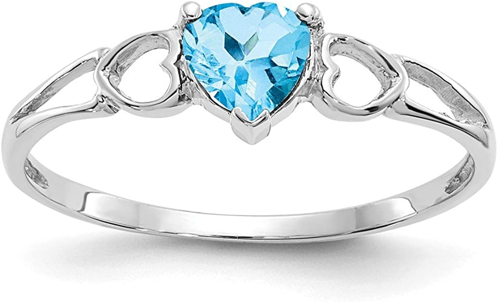 14k White Gold Blue Topaz Birthstone Band Ring Size 6.00 Stone December Fine Jewelry For Women Gifts For Her
