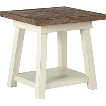 Signature Design by Ashley - Stowbranner Modern Farmhouse End Table w/ Fixed Shelf, White/Brown