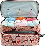 JOZEA Elk Bolsa de punto grande, organizador de hilos, soporte para bolsa de transporte, maletín cuadrado con cremallera y bolsillo para agujas de tejer, accesorios de ganchillo, fácil de transportar