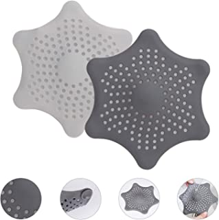 Shower Hair Catcher with 6 Strong Suction Cups, Durable Shower Drain, Flexible & Harmless Drain Protector, Drain Hair Catcher (2 Pack)