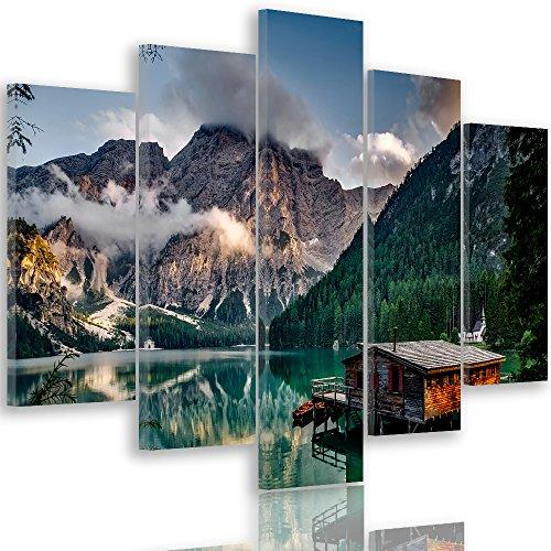Feeby. Quadro multipannello - 5 Pannelli - Quadro su Tela, Stampa Artistica, Moderno Canvas, 5 Parti, Tipo A, 100x70 cm, Lago di BRAIES, Italia, Montagne, Natura, Verde