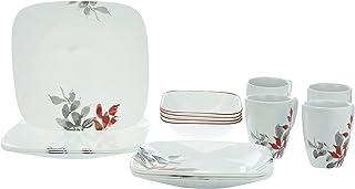 Corelle FBA_3972 16 Pieces Vitrelle Glass Kyoto Leaves Dinnerware Set, Glass