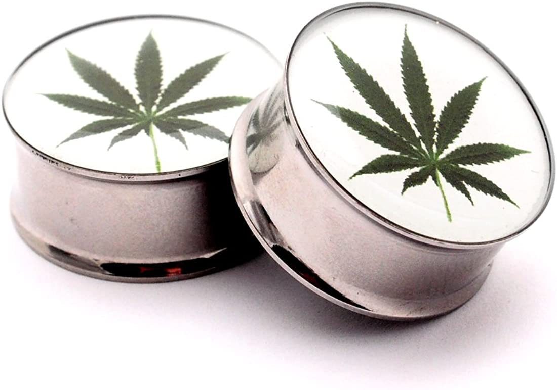 Mystic Metals Body Jewelry Double Flare Pot Leaf Picture Plugs - Sold As a Pair