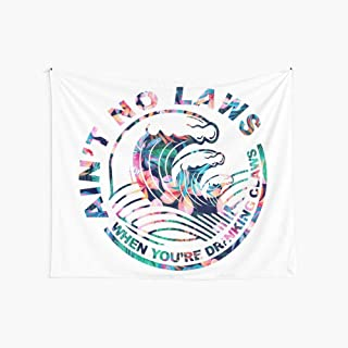 Ain't No Laws When You're Drinking Claws Tapestry, White Tapestry Wall Hanging White Claw Flag Vintage Tapestry for Living Room Bedroom Dorm Decor (59.1 x 51.2 inches)