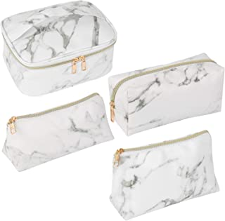 SUBANG Makeup Bag Toiletry Bag Travel Bag Portable Cosmetic Bag Makeup Brushes Bag Waterproof Organizer Bag for Women Girls Men 4 Size White Marble