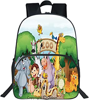 Oobon Kids Toddler School Waterproof 3D Cartoon Backpack, Zoo and The Animals in Beautiful Nature Welcoming Playful Outdoors Forest Landscape, Fits 14 Inch Laptop