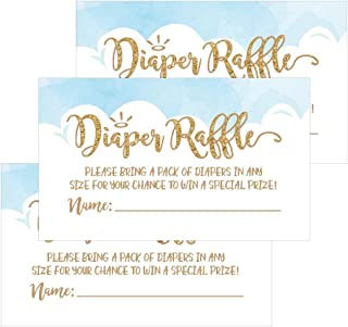 25 Diaper Raffle Ticket Lottery Insert Cards for Blue Boy Heaven Sent Baby Shower Invitations, Supplies and Games for Baby Gender Reveal Party, Bring a Pack of Diapers to Win Favors, Gifts and Prizes