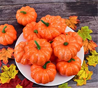 12PCS Artificial Pumpkins with 100 PCS Lifelike Maple Leaves, Fall Simulation Artificial Vegetables for Halloween Thanksgiving Home Decoration
