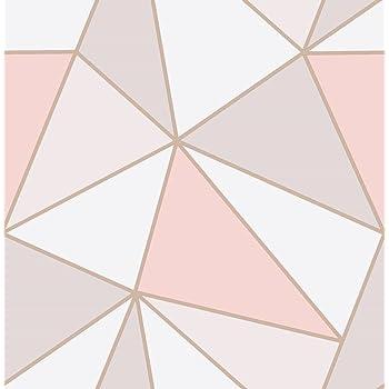 Fine Decor FD41993 UK Apex Geo Sidewall Wallpaper, Rose Gold
