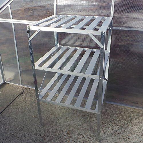 Standregal Pflanztisch 62x50x114cm für Gewächshaus Treibhaus Regal Ablage Aluminium Wandregal