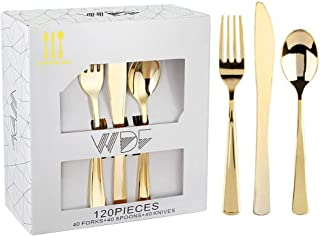 120 Pieces Gold Plastic Silverware- Disposable Flatware Set-Heavyweight Plastic Cutlery- Includes 40 Forks, 40 Spoons, 40 Knives -WDF