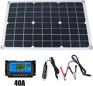 Goolsky 50W 12V/5V Monocrystalline Silicon Solar Panel Dual Output USB Solar-Battery-Charger with 10/20/30A/40A/50A Solar ...