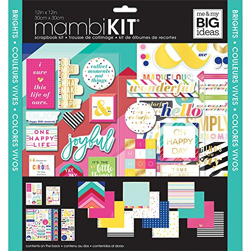 me & my BIG ideas mambiKIT - The Happy Planner Scrapbooking Supplies - Scrapbook & Paper Crafting Kit - Brights Theme - Includes 12 Pages of Design Paper & Assorted Stickers - 12 x 12 in.