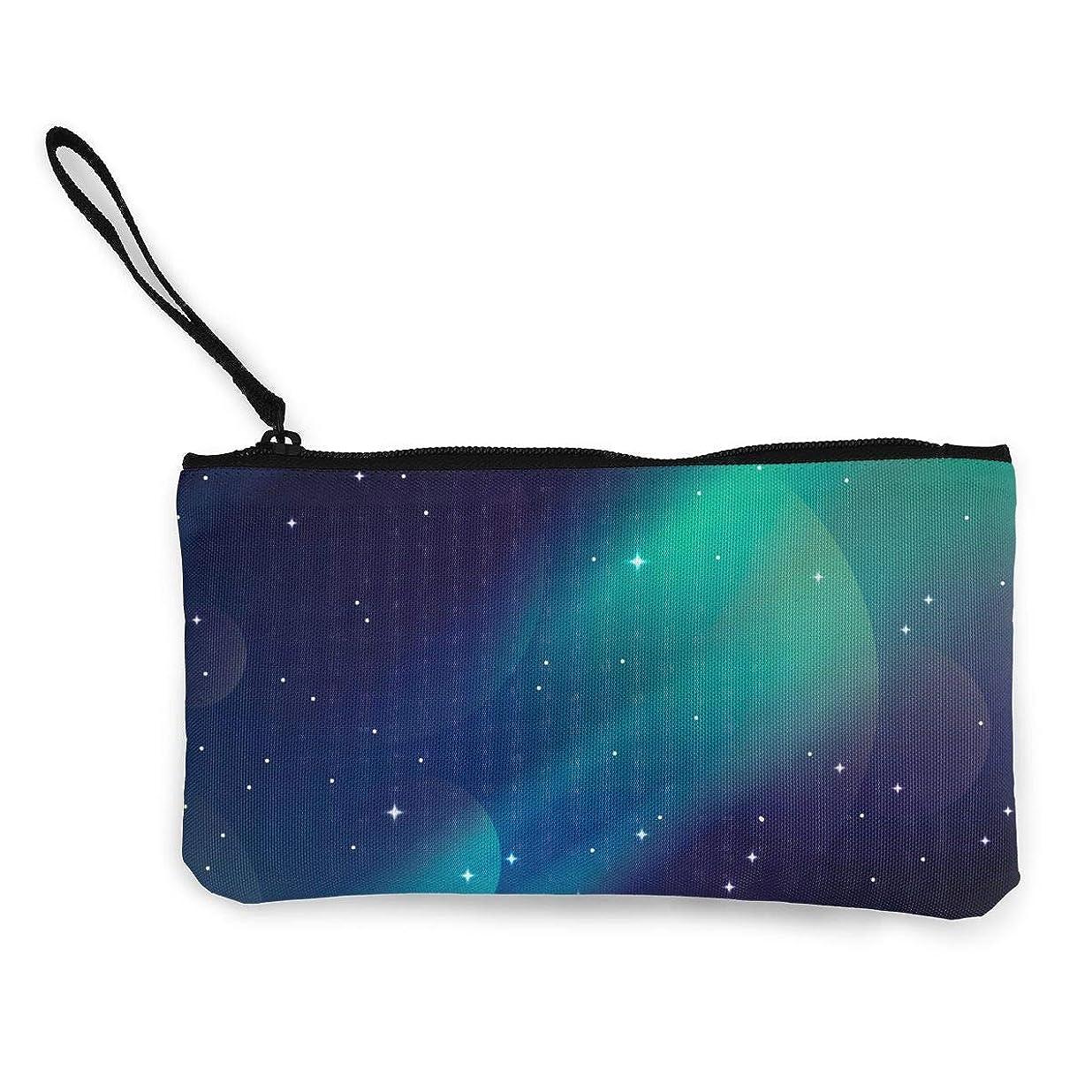 スコットランド人誘うゴミErmiCo レディース 小銭入れ キャンバス財布 光の夜空 小遣い財布 財布 鍵 小物 充電器 収納 長財布 ファスナー付き 22×12cm