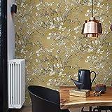Papel pintado con flores de Van Gogh, color amarillo, naranja, mostaza, flor de almendra, vintage, para dormitorio, cocina, salón, incluye cola de papel pintado para papel pintado de fieltro