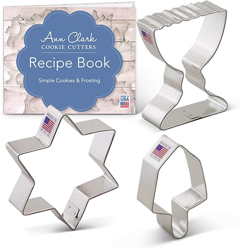 Ann Clark Cookie Cutters 3 Piece Hanukkah Cookie Cutter Set With Recipe Booklet Star Of David Dreidel And Menorah