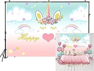 7x5ft Unicorn Background Birthday Party Banner Sweet Flowers Backdrop Baby Shower Newborn Child Girl Artistic Portrait Photoshoot Studio Props Vinyl Wallpaper W-1998