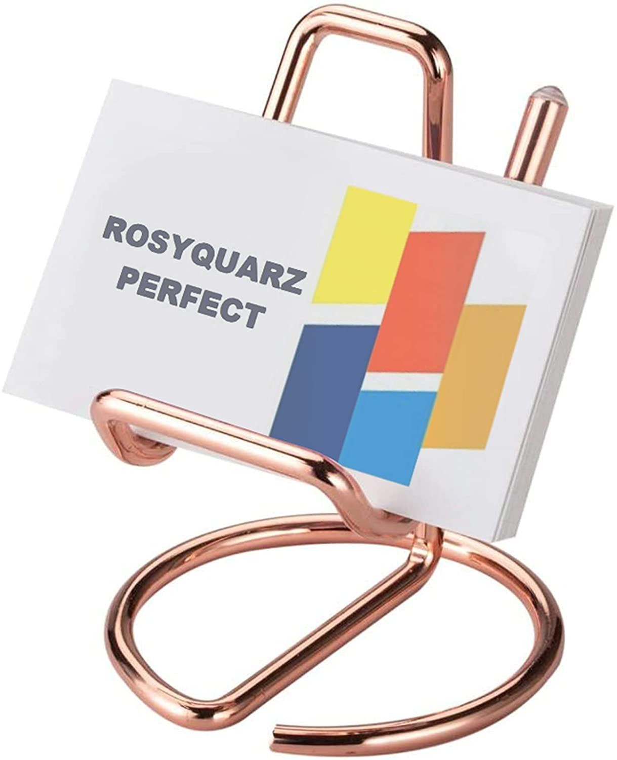 ROSYQUARZ Business Card Holder for Desk, Small Metal Business Card Holder Stand, Cute Rose Gold Business Name Cards Display Holder Used on Office Desktop for Women and Men