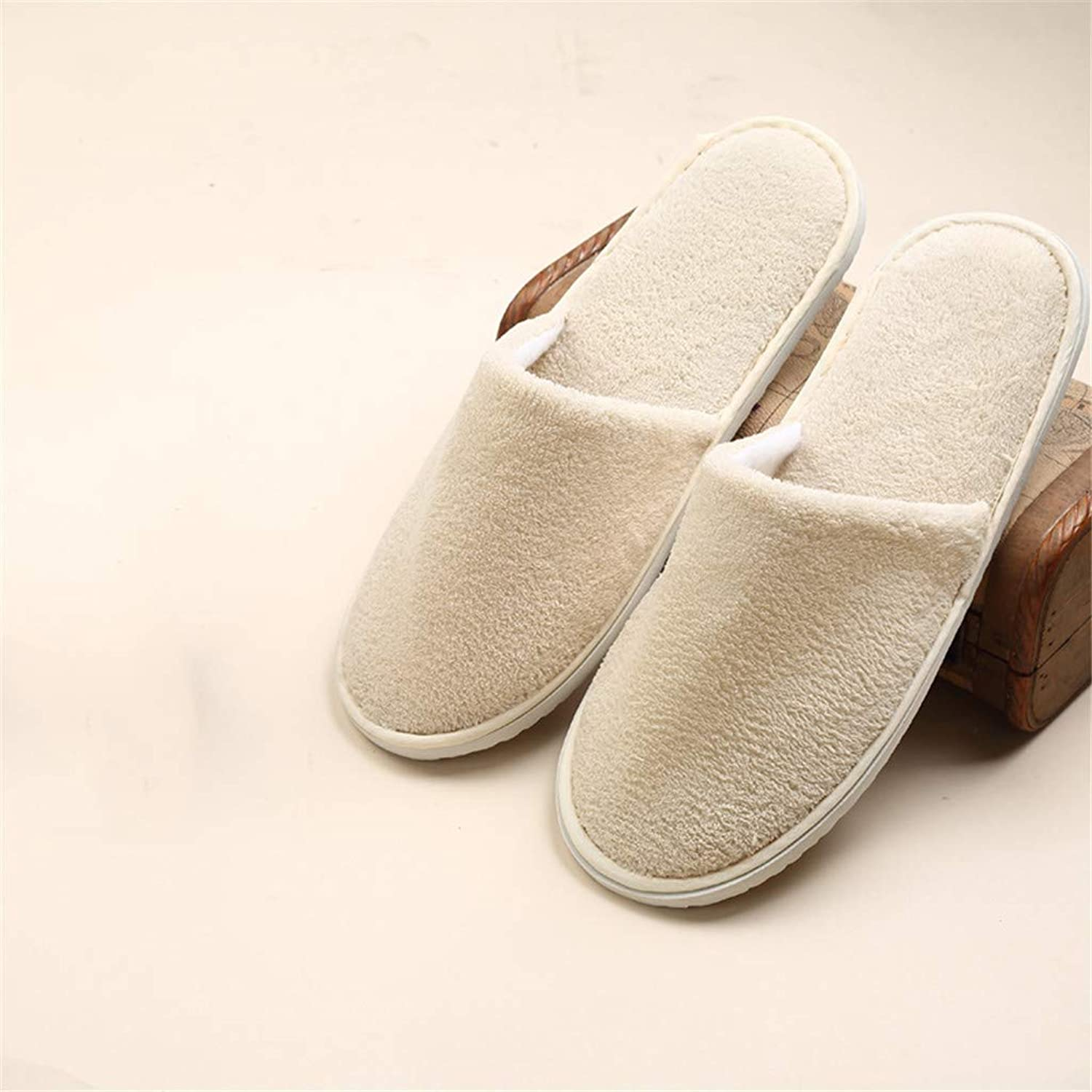 10 Pairs Disposable Spa Slippers - Coral Fleece Comfortable and Non-Slip - Perfect for Home, Hotel Commercial Use,Beige,Closed