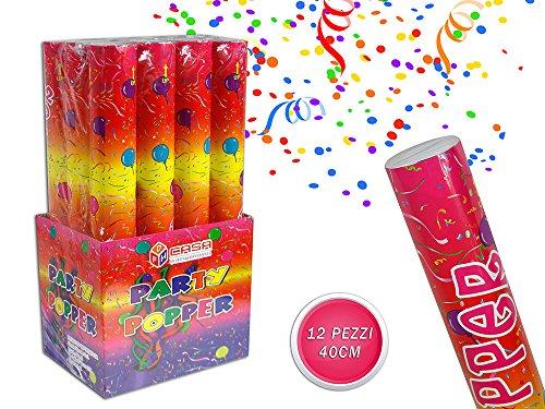 Vetrineinrete® Set 12 sparacoriandoli colorati da 40 60 e 80 cm per feste matrimonio compleanno tubo cannone coriandoli party (40 cm)