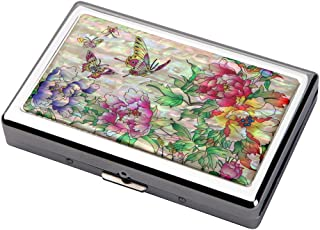 Mother of Pearl Red Yellow Purple Peony Flower Design Extra Long 100S Super Slim King Size 16 Cigarette Engraved Metal Steel RFID Blocking Protection Credit Business Card US Bill Holder Case Box