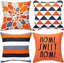 WLNUI Decorative Pillow Covers 18x18 Inch Set of 4 Orange Geometric Modern Throw Pillow Covers Home Sweet Home Decorative ...