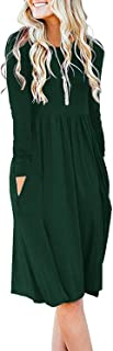Women Casual Long Sleeve Dresses Empire Waist Loose Dress with Pockets
