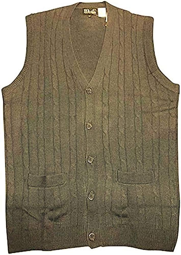 D'Avila 100% Acrylic Big and Tall Sleeveless Cable Knit Cardigan Vests (X-Large Tall, Brown Heather)