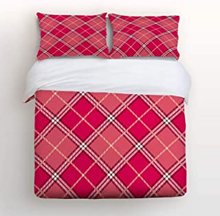 YEHO Art Gallery Fashion Duvet Cover Sets Queen Size Classic Scotland Plaid Pattern Pink,Decorative 3 Piece Bedding Set Include 1 Comforter Cover with 2 Pillow Cases