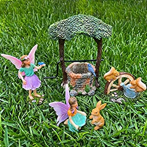 mood lab fairy garden miniature figurines and accessories wishing well set of 5 pcs fairies statue kit
