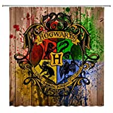 Cool Badge Shower Curtain Classic Movie Magic School Wooden Board Brown Bathroom Curtains 70 x 70 Inches Waterproof Fabric Bathroom Include Hooks