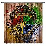 AMFD Cortina de Ducha clásica de la película Harry Potter Wizarding School Logo diseño único 70 x 70 Pulgadas Impermeable Mildew Tela de poliéster baño Incluye Ganchos