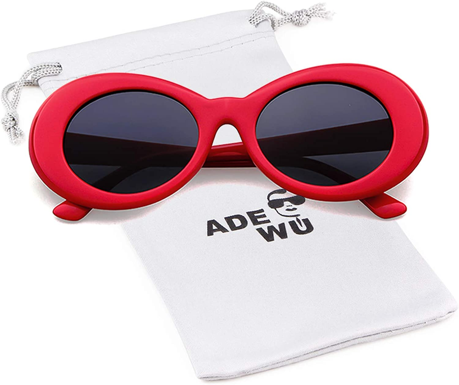 ADEWU Clout Goggles, Lunettes de Soleil Ovales Red