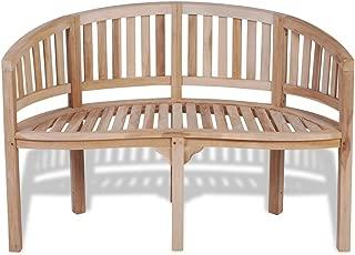 vidaXL Teak Patio Bench Banana Shape Wooden Garden Chair Seat Outdoor 2-Seater