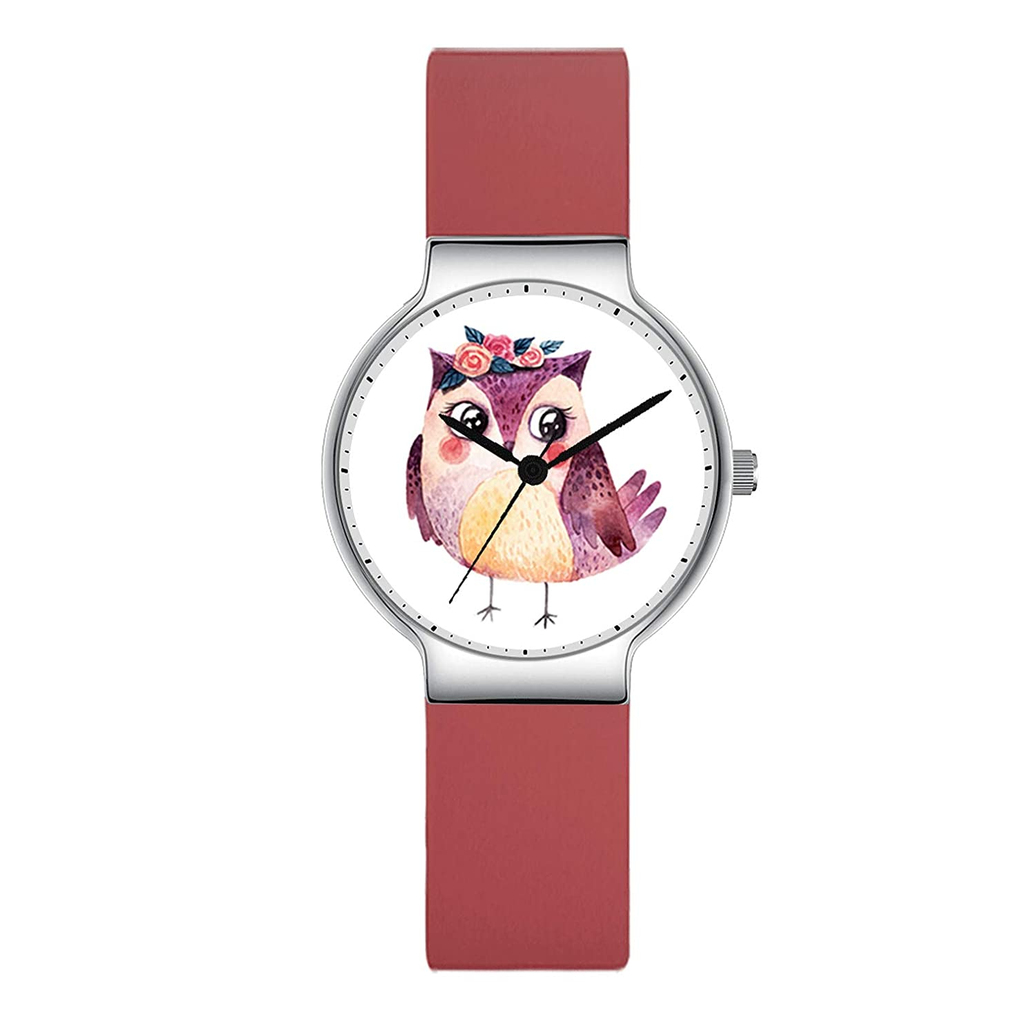 Watches for Kids, Canisto Owl Watch with Pink Silicone Band Watch for Children Girls Ladies Fashion Unique Casual Waterproof Rubber Cute Wristwatches