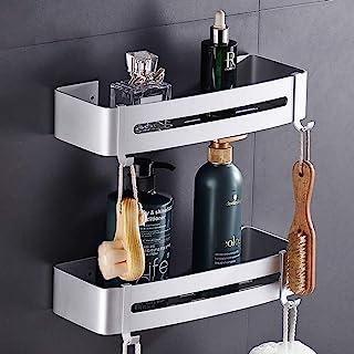 Hodzeed No Drilling Shower Shelf - Aluminum 2 Tier Bathroom Shelves Caddy Adhesive Storage Basket for Shampoo with Hanger ...