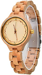 Woman Wood Watch, Natural Wooden Analogue Quartz Wrist Watch for Lady Lightweight Maplewood