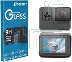 TERSELY Screen Protector for GoPro Hero 7 (2018) Black /6/5, (3 Pack) 9H Hardness Tempered Glass Screen Protector Front Camera + Back Glass Lens Protector Film for Go Pro Hero7 Black Hero6 Hero5