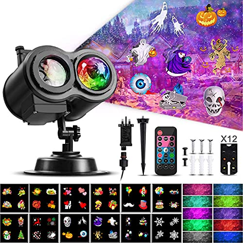 Halloween Christmas Projector Lights, Samyoung 2-in-1 Ocean Wave Snowflake LED Projector with 12...