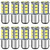 DEFVNSY - Pack de 10-6000K Blanc 1142 Ampoules LED BA15D 5050 18-SMD Lampes de remplacement pour feux de recul de voiture 12V, feu de freinage, éclairage intérieur de remorque de camping-car RV